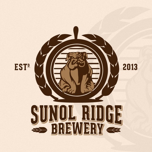 Bulldog logo with the title 'Help Sunol Ridge Brewery with a new logo'