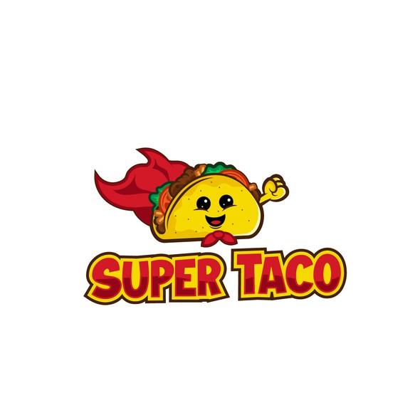 Taqueria logo with the title 'Super Taco mascot for small taqueria.'