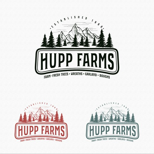 Pine tree logo with the title 'Logo for Hupp Farms'