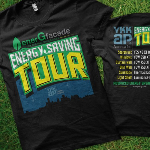 Construction t-shirt with the title 'Help YKK AP America with a new t-shirt design'