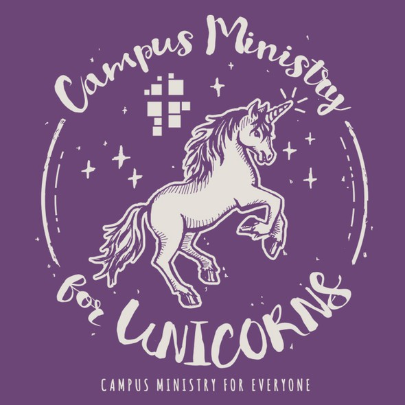 Unicorn t-shirt with the title 'Illustrative T-Shirt design for a community campus'
