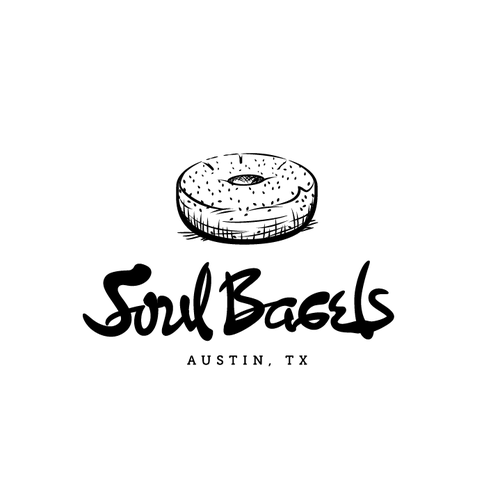 Handwritten logo with the title 'Handwriting concept logo for Soul Bagels'