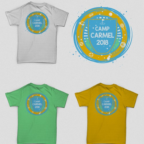 Kids' t-shirt with the title 'Camp Carmel 2018 Summercamp Back Design'