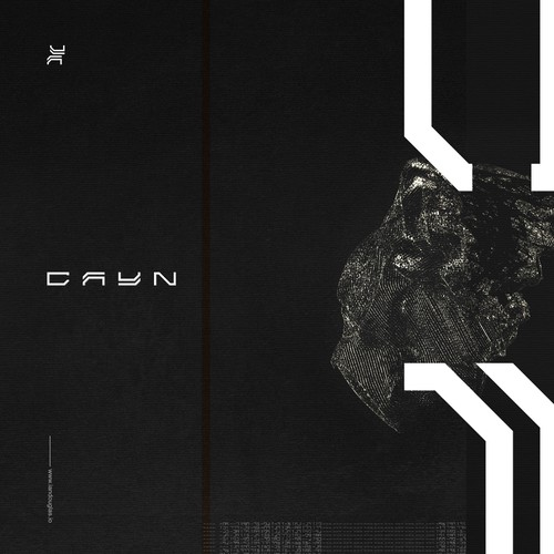 Event design with the title 'Primordial mark for techno producer and DJ CAYN'