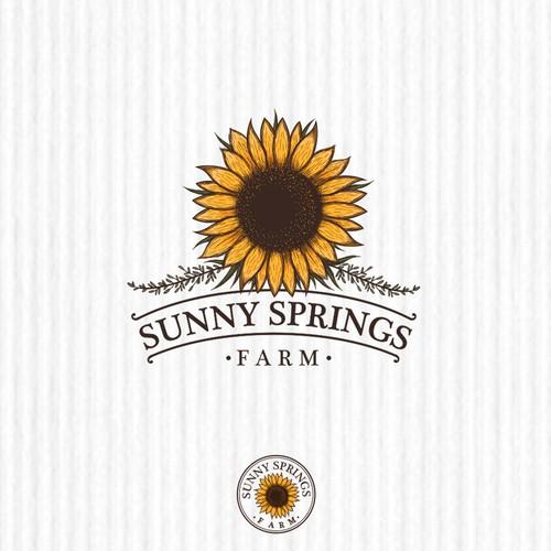 "Spring logo with the title 'Logo design concept for ""Sunny Spring Farm""'"