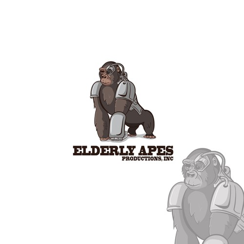 Ape design with the title 'Elderly Apes Productions, Inc - create a kick-ass, fun, gritty but modern DESIGN!'