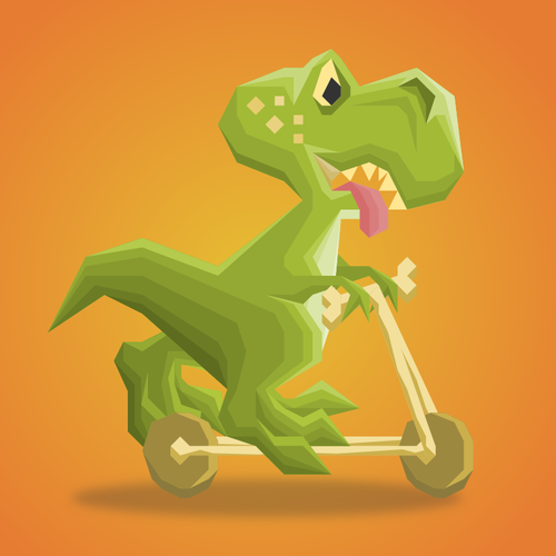 Scooter design with the title 'Tinny T-Rex'