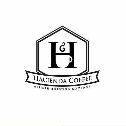 H logo with the title 'Create a classic Coffee Logo for Hacienda Coffee'