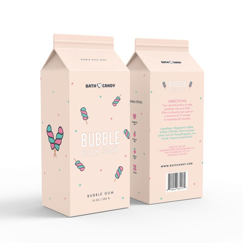 Candy packaging with the title 'Bath soak packaging design'