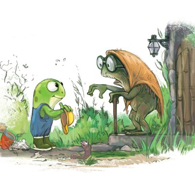 "Illustration for the book ""Fredy the Frugal Frog"""