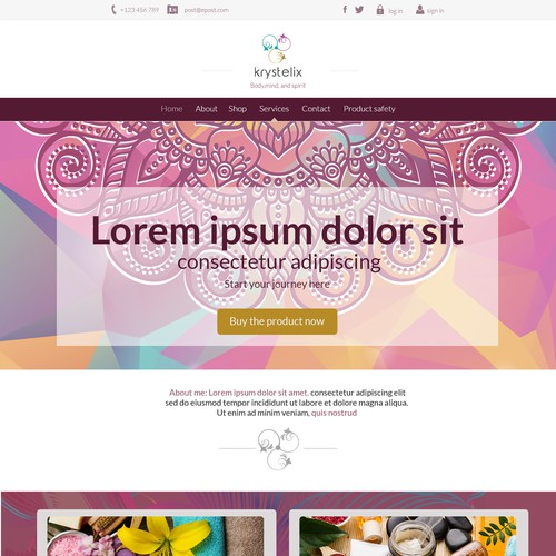Spa website with the title 'colorful design'