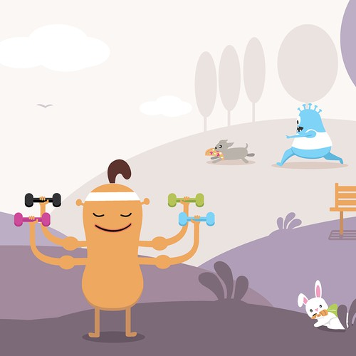 Monster design with the title 'Landing page illustration'