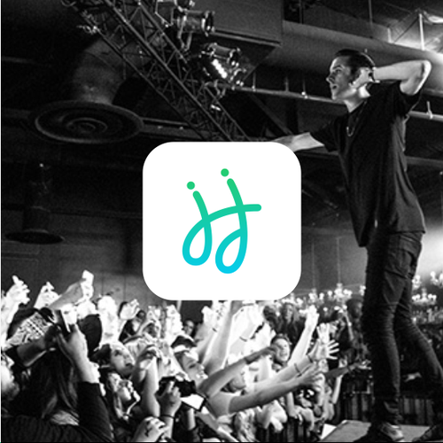 Music app logo with the title 'hihat music app'
