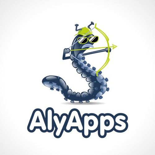 Archery logo with the title 'Caterpillar logo for mobile app development company'