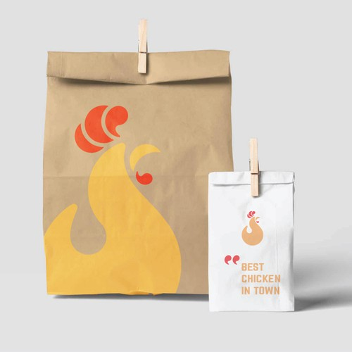 Yellow brand with the title 'Chicken Logomark for a Fast Food Restaurant'
