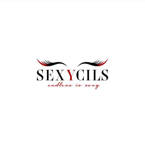 Eyelash logo with the title 'Sexy lashes with black lace insert mixed with red'