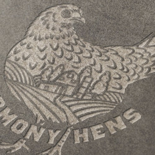 Modern vintage logo with the title 'Organic Harmony Hens Local Agriculture Logo'