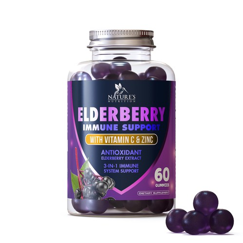 Supplement design with the title 'Label design for a gummies supplement'