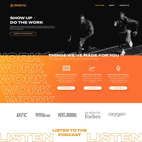 Combat design with the title 'Fitness Podcast Homepage'
