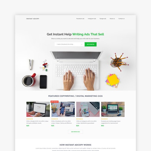 Homepage design with the title 'Home Page for Instant Adcopy'