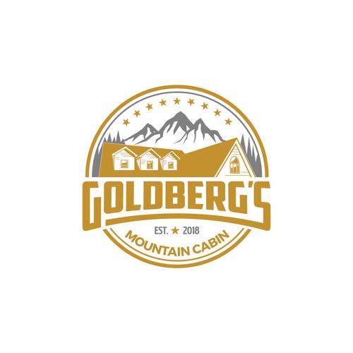 Mountain logo with the title 'Goldber'g Mountain Cabin'