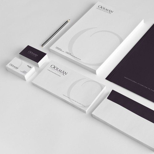 Stationery brand with the title 'Oolman stationery and logo design'