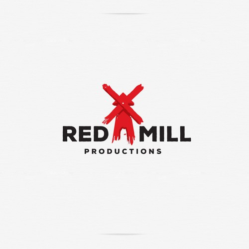Brush stroke design with the title 'RedMill Productions'