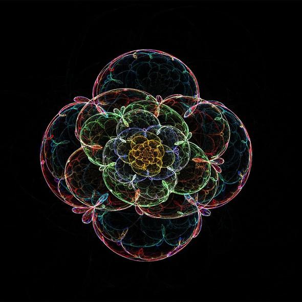Gradient artwork with the title 'fractal art- flower'