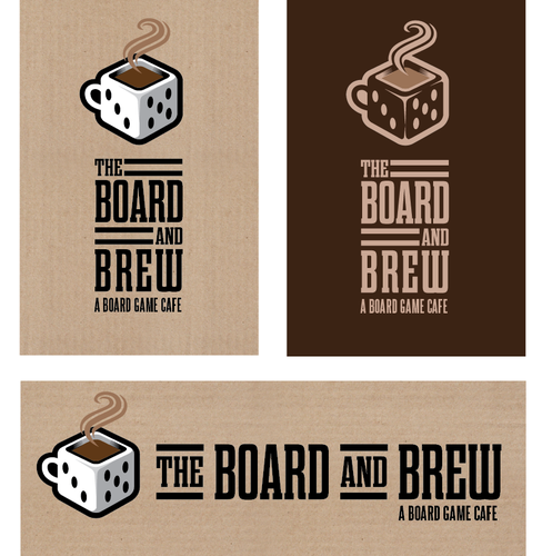 "Cafe design with the title 'Create a logo for a ""board game cafe""'"