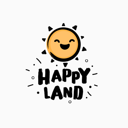 Amusement park design with the title 'Bold Logo for Amusement Park - Happy Land'