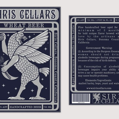 Siris Cellars- Sonoma County's New Artisan Brewery Needs an Eye-catching Label