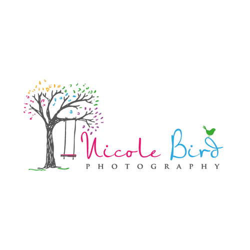 Tree service logo with the title 'whimsical sketchy tree with bird'