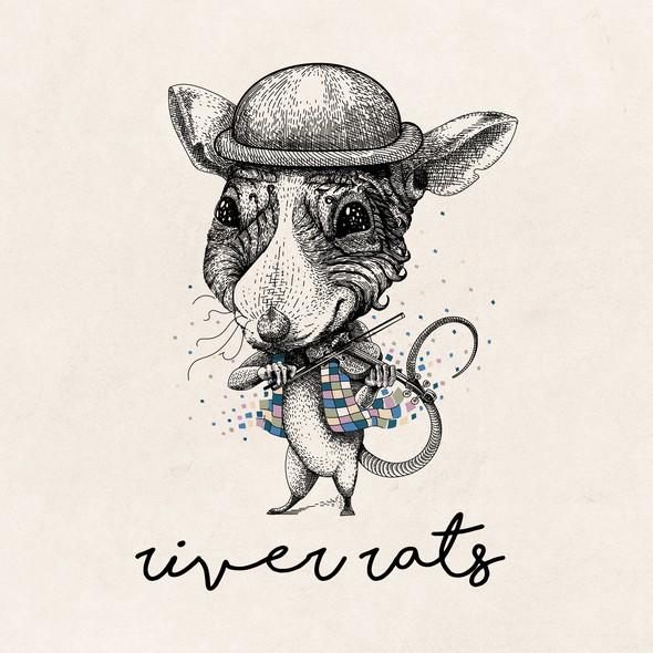 Violin design with the title 'River Rats illustration design'
