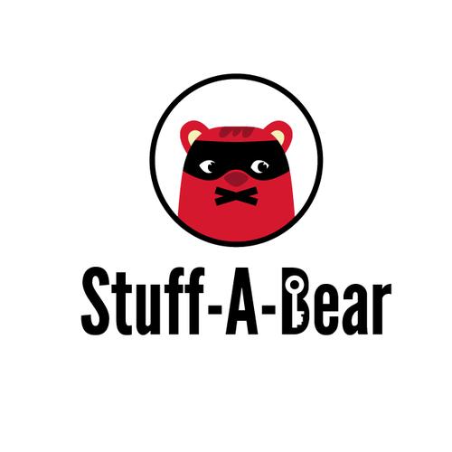 Children logo with the title 'Secretive teddy bear logo'