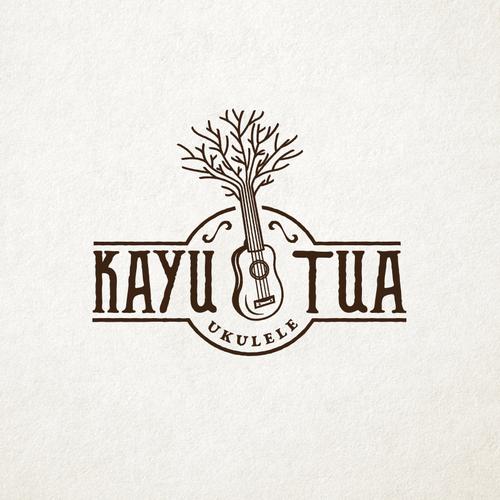 "Guitar design with the title '""Old Tree"" Ukulele Shop Classic Logo Design'"