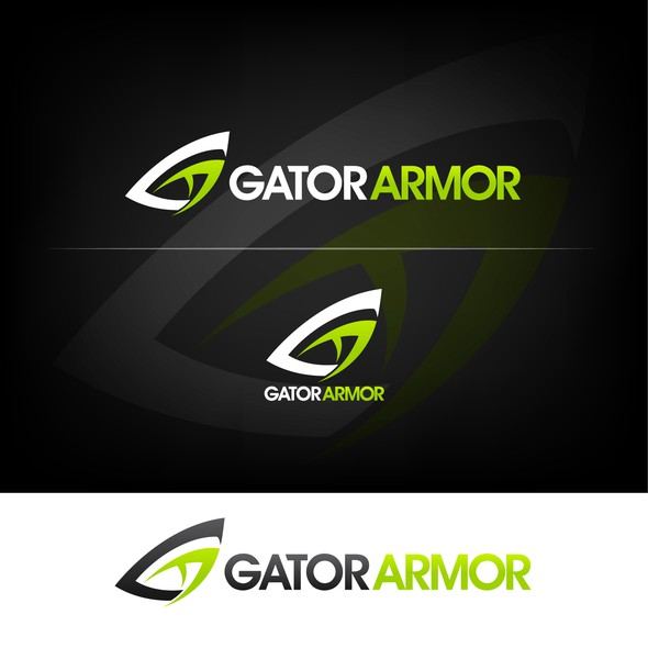 Gator design with the title 'creative execution of letters G and A that resembles the eye of an alligator'