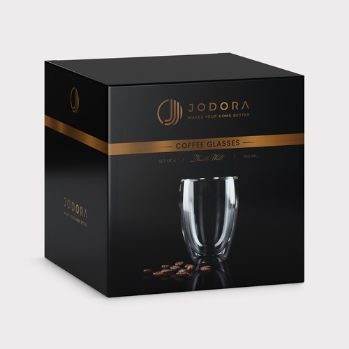 High-quality packaging with the title 'JODORA Coffee glasses packaging design'