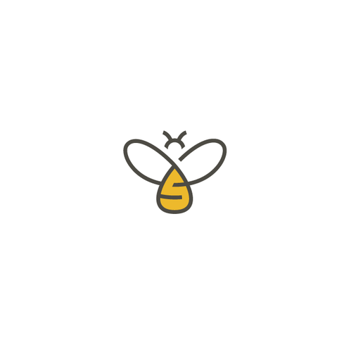 Bee logo with the title 'Honey bee logo'