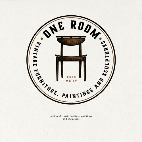 Brown and blue design with the title 'Logo For One Room'