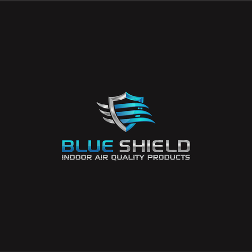 Laptop logo with the title 'Blue Shield '