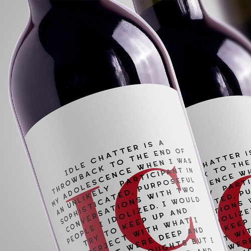 Typography label with the title 'Wine label for Red and Rosè blend'