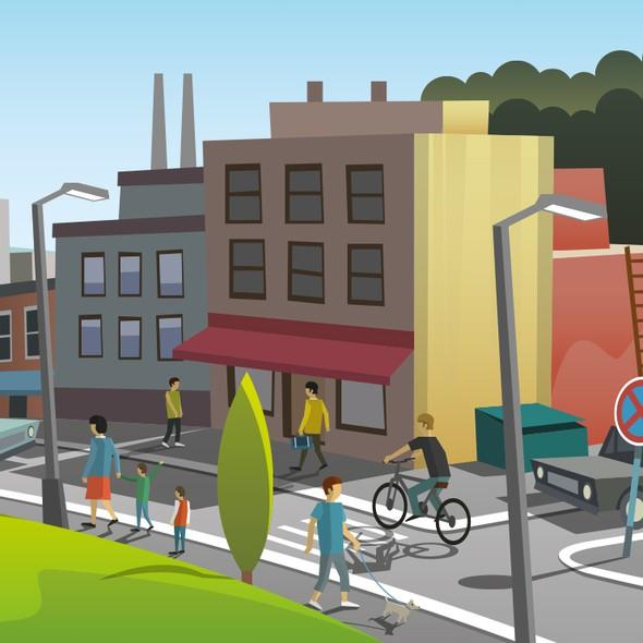 Street illustration with the title 'Spectafy illustration'