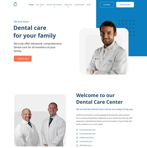 Company profile design with the title 'South County Smiles-Homepage Redesign'