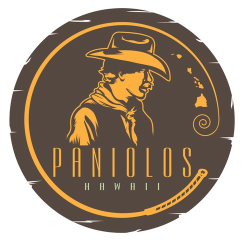 Sheriff logo with the title 'Logo for Paniolos-- Hawaiian cowboy grill'