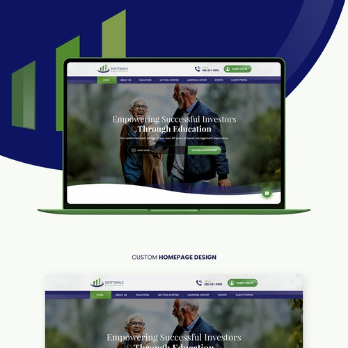 Concept website with the title 'Home Page Design for Financial Advisor'