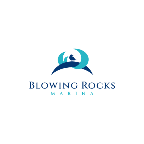 Seagull design with the title 'Simple and elegant logo for Blowing Rocks Marina'