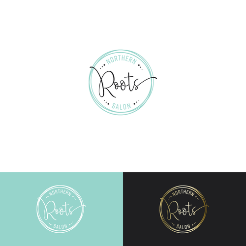 Teal logo with the title 'Simple logo for a Hair Salon'