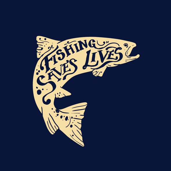 Trout design with the title 'Fishing Saves Lives t-shirt'