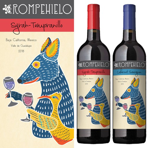 Folk design with the title 'Bright and lively wine label'