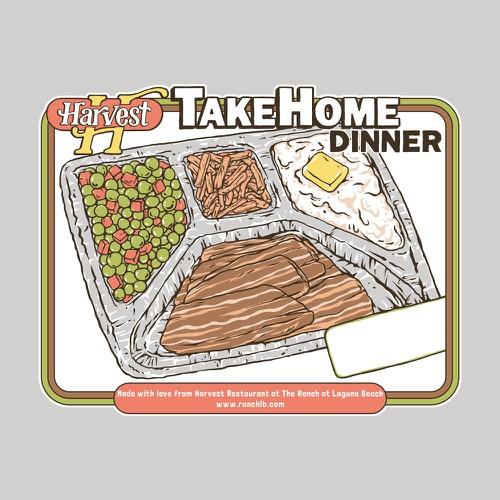 Label artwork with the title 'TV dinner illustration'